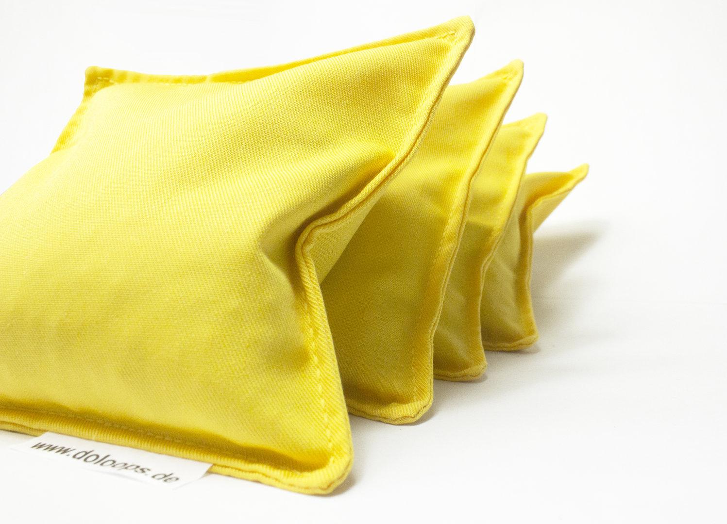 Gelbe Cornhole-Säckchen im 4er Pack